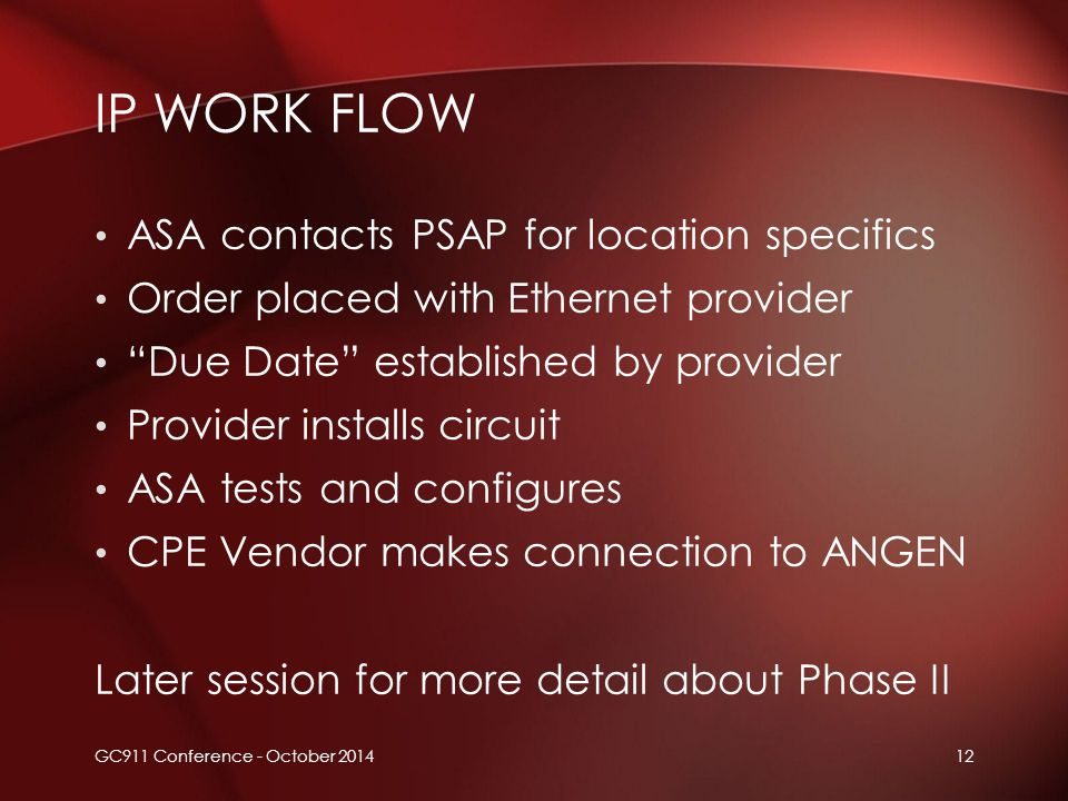 "12 ASA contacts PSAP for location specifics Order placed with Ethernet provider ""Due Date"" established by provider Provider installs circuit ASA tests"