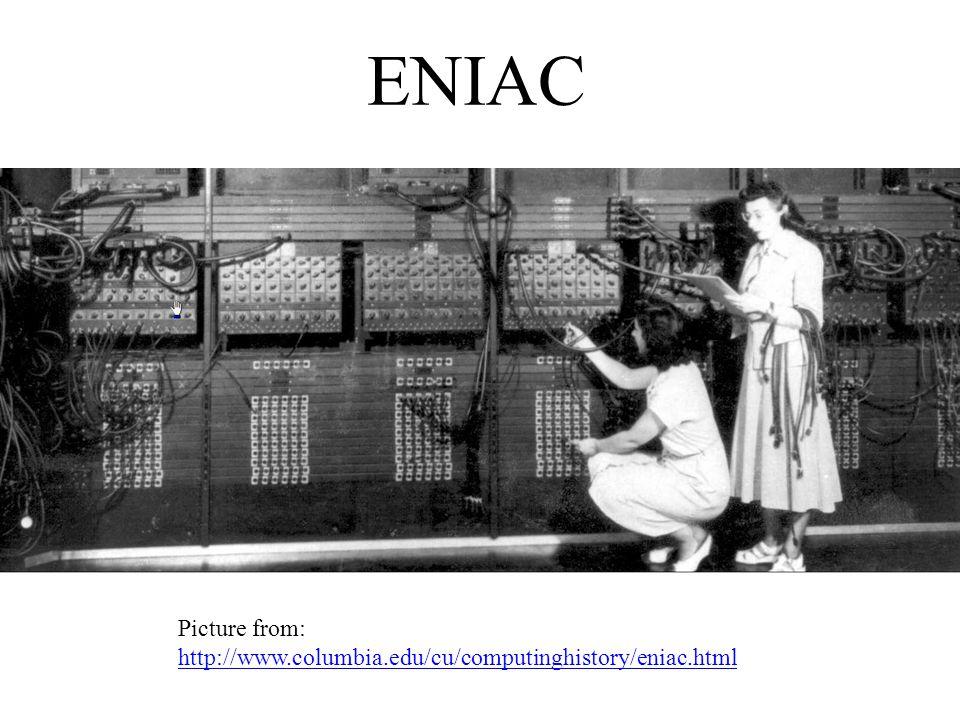 ENIAC Picture from: http://www.columbia.edu/cu/computinghistory/eniac.html http://www.columbia.edu/cu/computinghistory/eniac.html