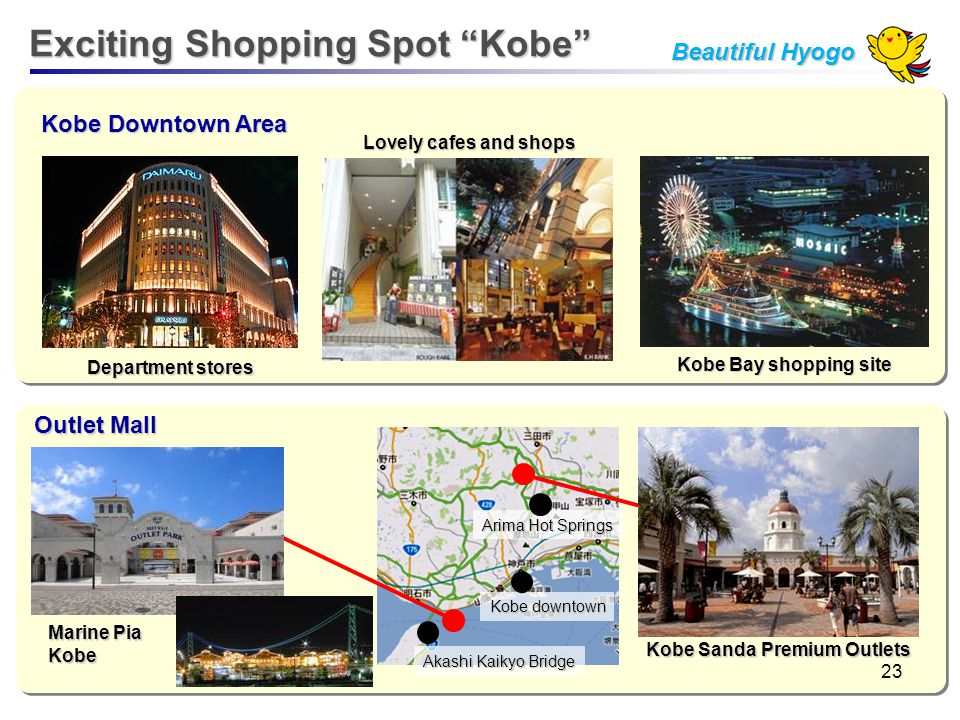 Kobe Downtown Area Outlet Mall Department stores Lovely cafes and shops Kobe Bay shopping site Kobe downtown Arima Hot Springs Akashi Kaikyo Bridge Ma