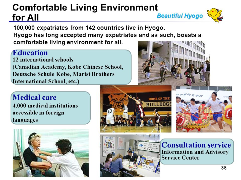 Comfortable Living Environment for All Beautiful Hyogo Medical care 4,000 medical institutions accessible in foreign languages Education 12 international schools (Canadian Academy, Kobe Chinese School, Deutsche Schule Kobe, Marist Brothers International School, etc.) 100,000 expatriates from 142 countries live in Hyogo.