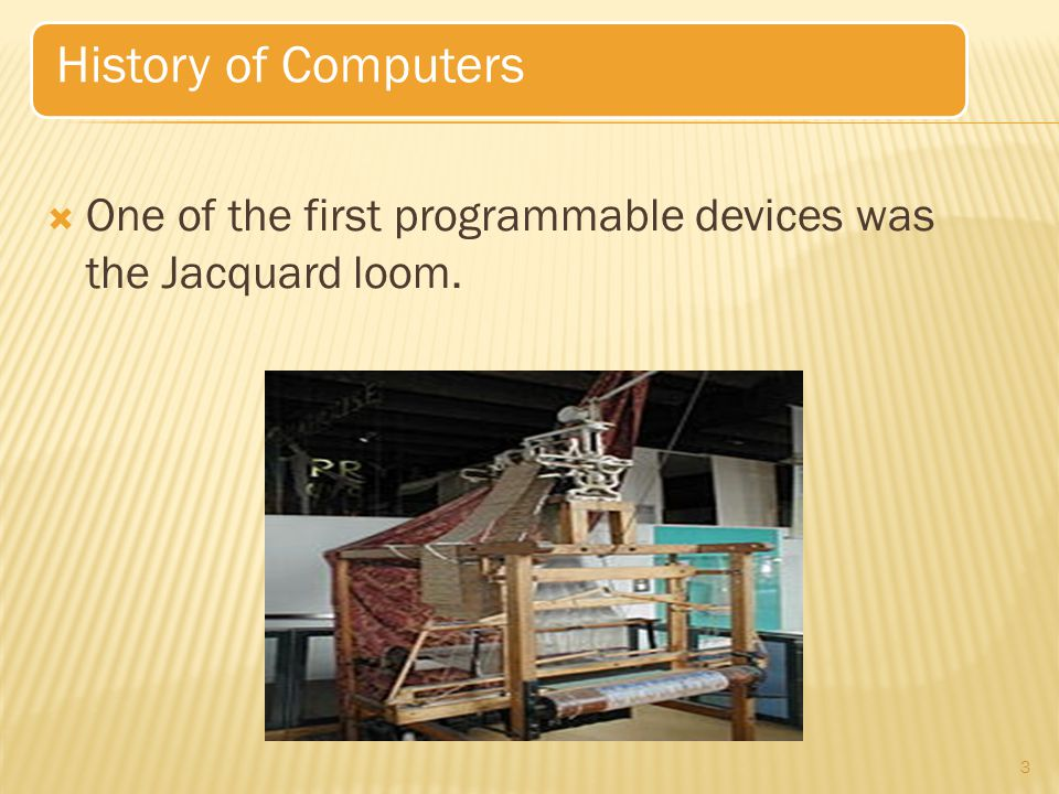  The history of the modern computer begins with two separate technologies—that of automated calculation and that of programmability.