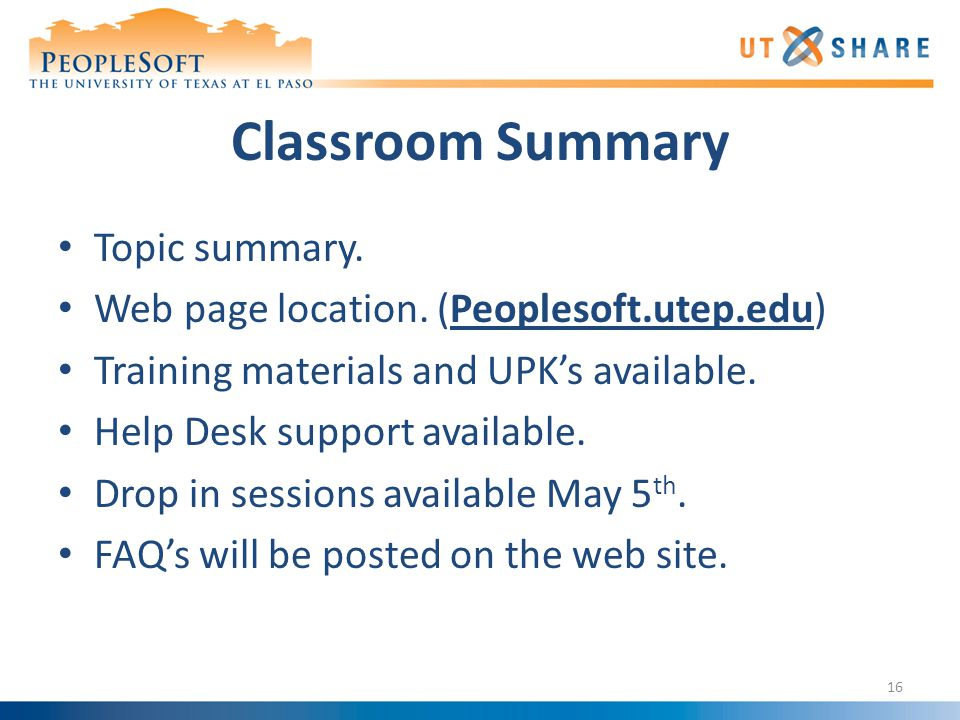 Classroom Summary Topic summary. Web page location.