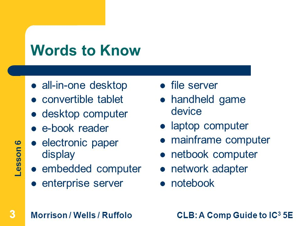 Lesson 6 Morrison / Wells / RuffoloCLB: A Comp Guide to IC 3 5E Words to Know all-in-one desktop convertible tablet desktop computer e-book reader ele