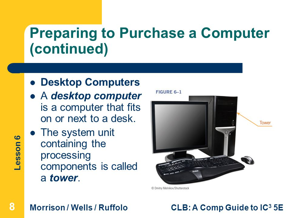 Lesson 6 Morrison / Wells / RuffoloCLB: A Comp Guide to IC 3 5E Preparing to Purchase a Computer (continued) Desktop Computers A desktop computer is a
