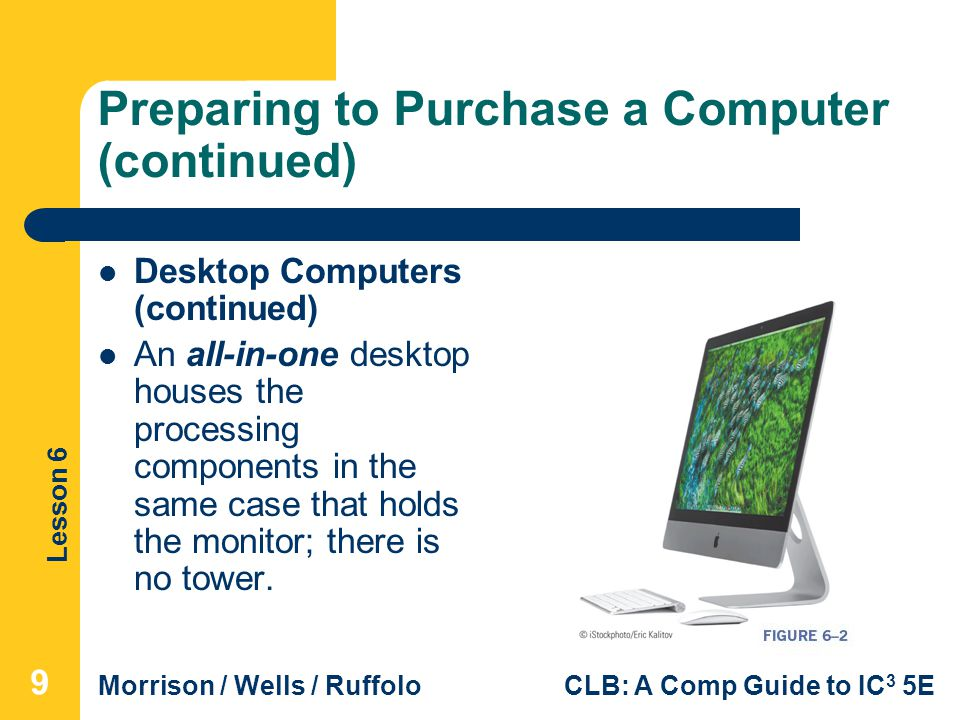 Lesson 6 Morrison / Wells / RuffoloCLB: A Comp Guide to IC 3 5E Preparing to Purchase a Computer (continued) Desktop Computers (continued) An all-in-o