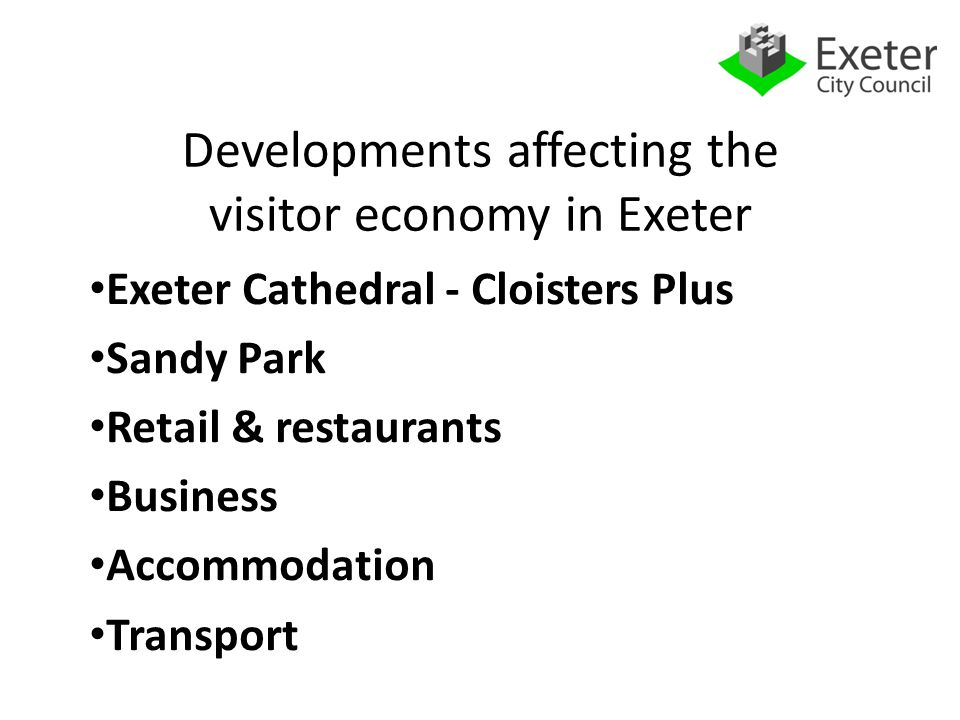 Exeter Cathedral Additional 100,000 visitors pa to Exeter Underground visitor centre £12.8m development HLF application submitted, announcement after general election in May 2015
