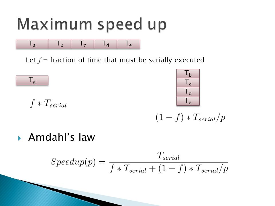  Amdahl's law TaTa TaTa TbTb TbTb TcTc TcTc TdTd TdTd TeTe TeTe TbTb TbTb TcTc TcTc TdTd TdTd TeTe TeTe TaTa TaTa Let f = fraction of time that must be serially executed