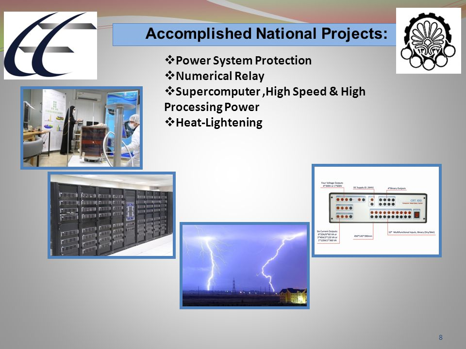 8 Accomplished National Projects:  Power System Protection  Numerical Relay  Supercomputer,High Speed & High Processing Power  Heat-Lightening