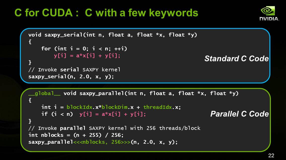 22 C for CUDA : C with a few keywords void saxpy_serial(int n, float a, float *x, float *y) { for (int i = 0; i < n; ++i) y[i] = a*x[i] + y[i]; } // I