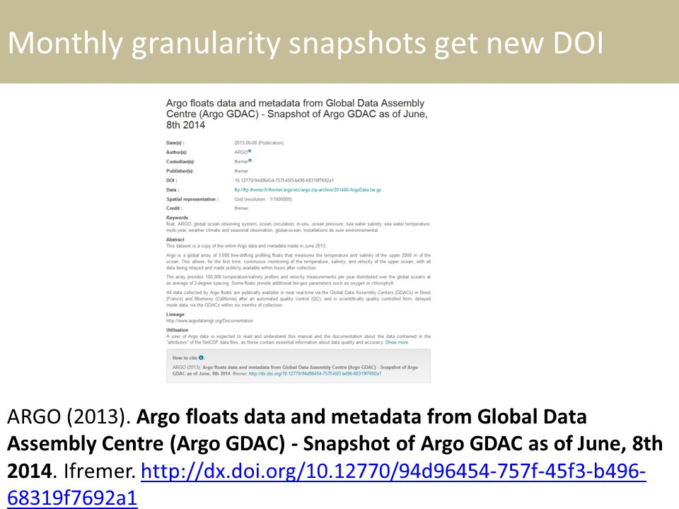 Monthly granularity snapshots get new DOI ARGO (2013). Argo floats data and metadata from Global Data Assembly Centre (Argo GDAC) - Snapshot of Argo G