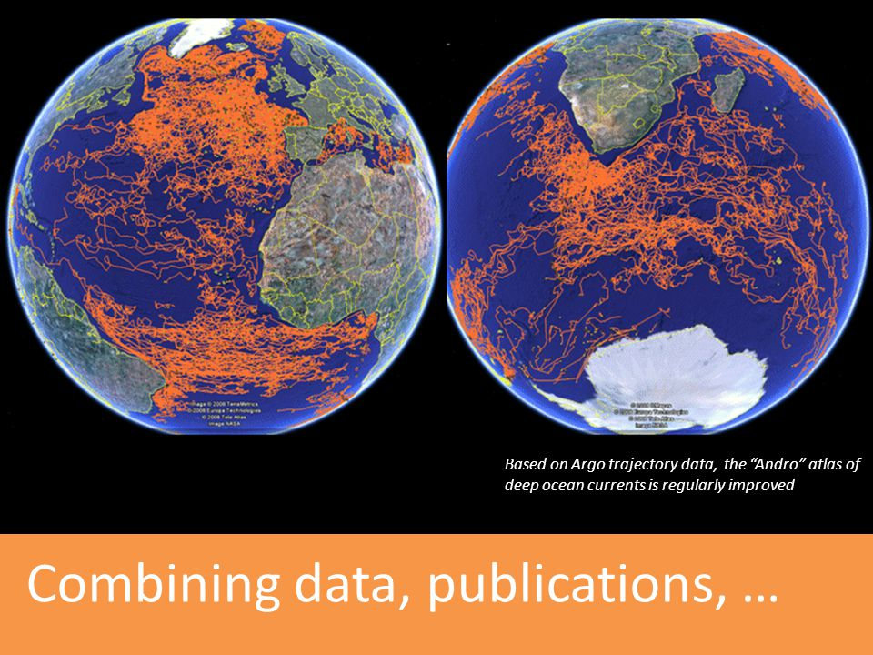 "Combining data, publications, … Based on Argo trajectory data, the ""Andro"" atlas of deep ocean currents is regularly improved"
