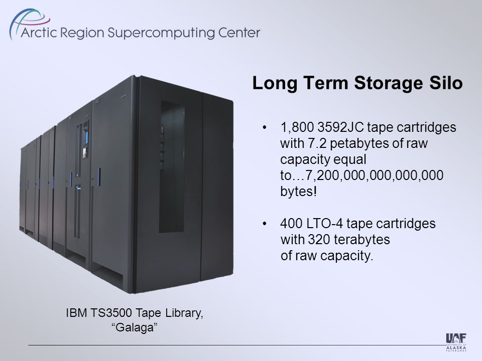 Long Term Storage Silo IBM TS3500 Tape Library, Galaga 1,800 3592JC tape cartridges with 7.2 petabytes of raw capacity equal to…7,200,000,000,000,000 bytes.