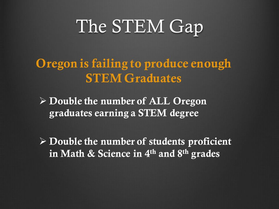 The STEM Gap Oregon is failing to produce enough STEM Graduates   Double the number of ALL Oregon graduates earning a STEM degree   Double the number of students proficient in Math & Science in 4 th and 8 th grades