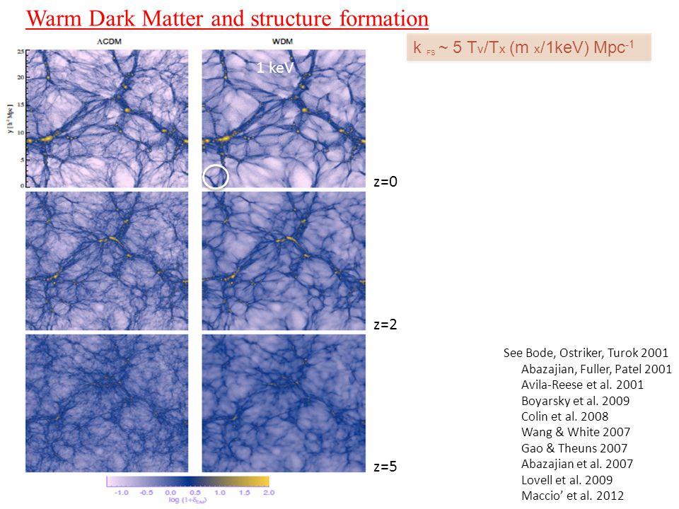 Warm Dark Matter and structure formation  CDM k FS ~ 5 T v /T x (m x /1keV) Mpc -1 See Bode, Ostriker, Turok 2001 Abazajian, Fuller, Patel 2001 Avila-Reese et al.