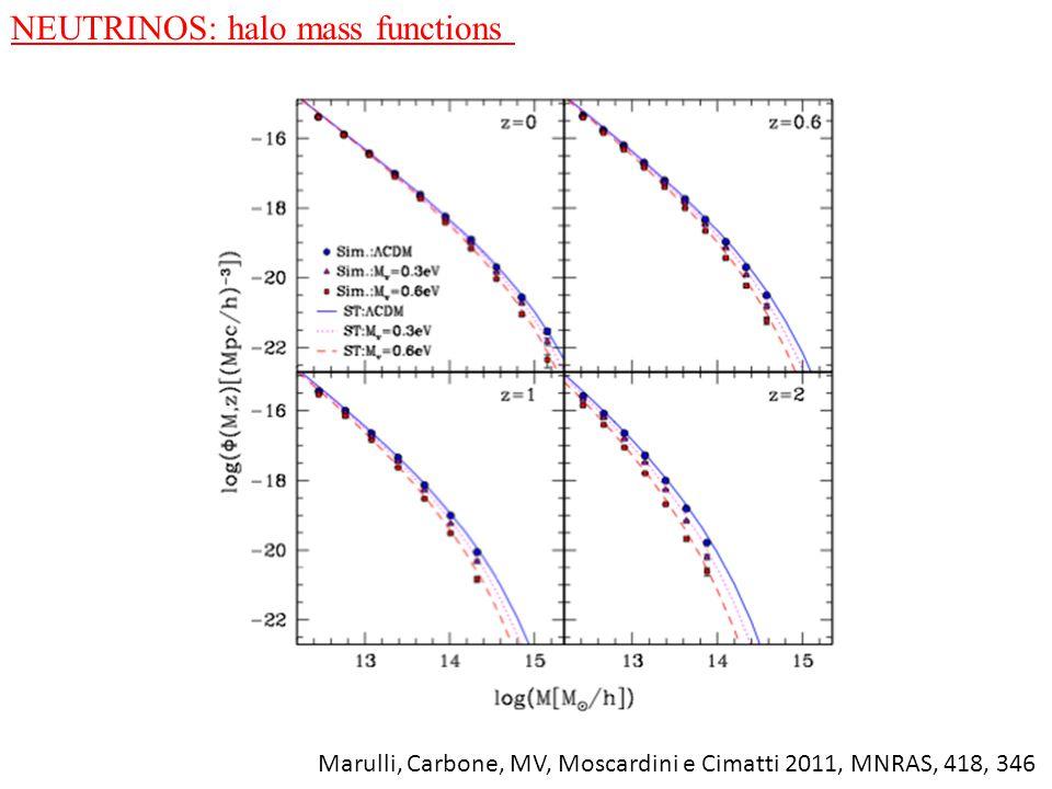 NEUTRINOS: halo mass functions Marulli, Carbone, MV, Moscardini e Cimatti 2011, MNRAS, 418, 346