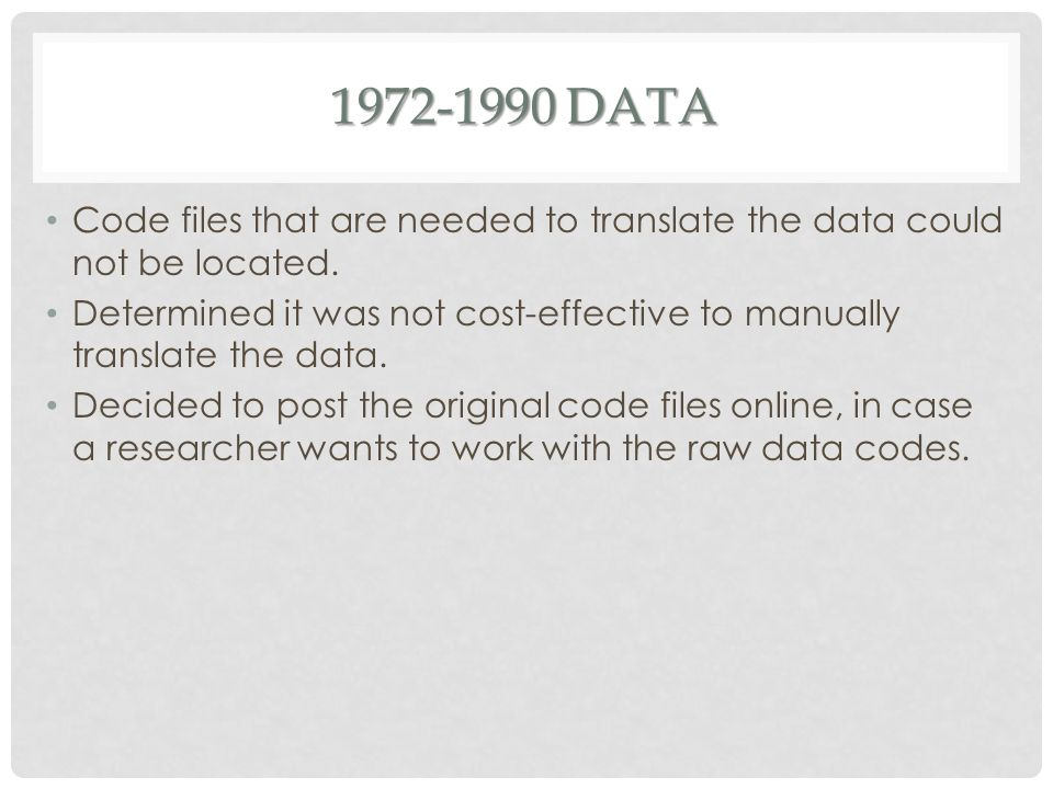 1972-1990 DATA Code files that are needed to translate the data could not be located.