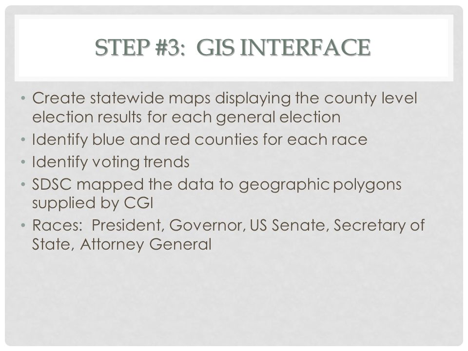 STEP #3: GIS INTERFACE Create statewide maps displaying the county level election results for each general election Identify blue and red counties for
