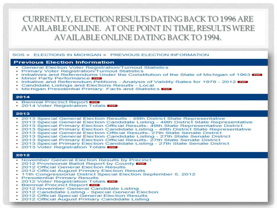 CURRENTLY, ELECTION RESULTS DATING BACK TO 1996 ARE AVAILABLE ONLINE.