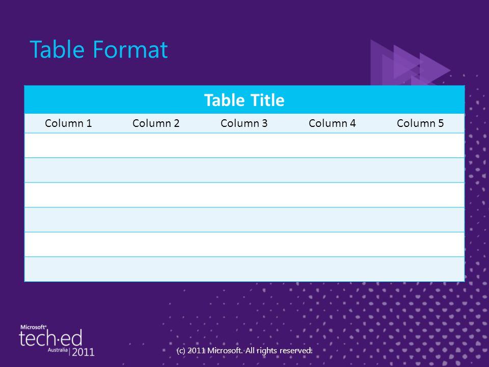 Table Format Table Title Column 1Column 2Column 3Column 4Column 5 (c) 2011 Microsoft.