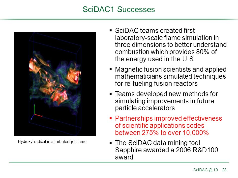 SciDAC @ 1028 SciDAC1 Successes  SciDAC teams created first laboratory-scale flame simulation in three dimensions to better understand combustion whi