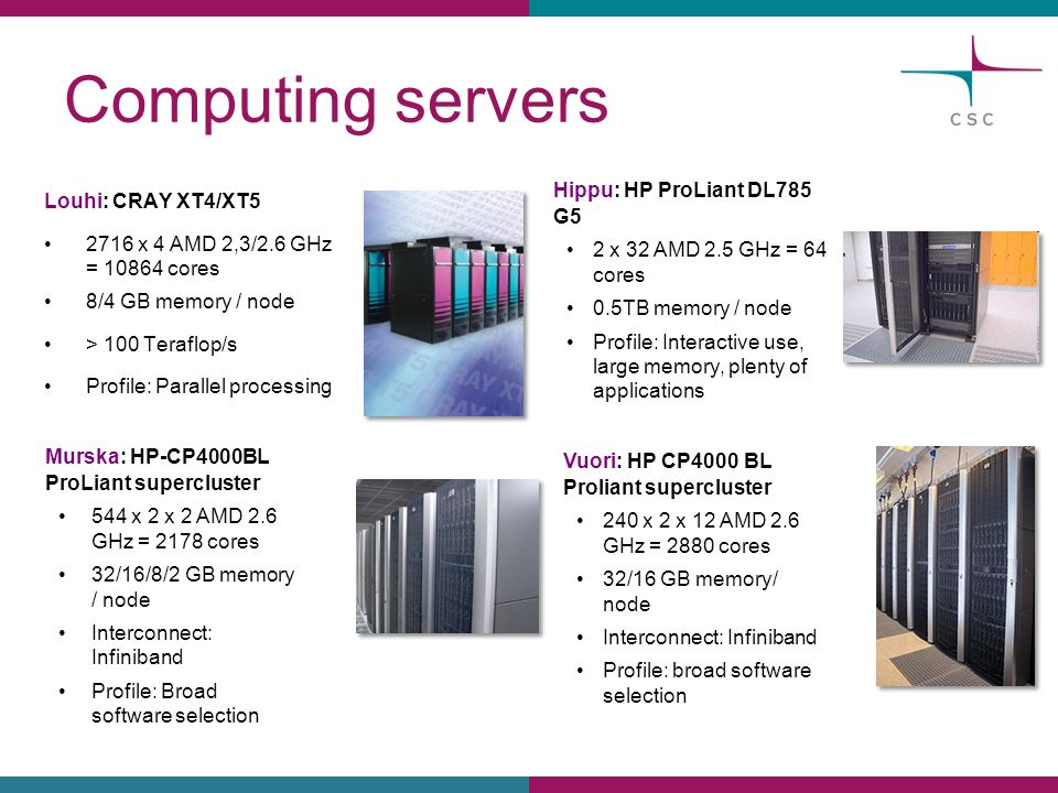 Computing servers Louhi: CRAY XT4/XT5 2716 x 4 AMD 2,3/2.6 GHz = 10864 cores 8/4 GB memory / node > 100 Teraflop/s Profile: Parallel processing Murska