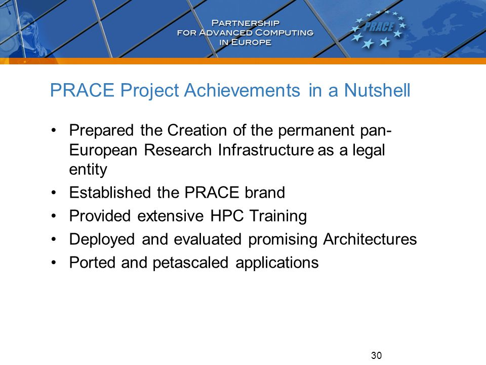 30 PRACE Project Achievements in a Nutshell Prepared the Creation of the permanent pan- European Research Infrastructure as a legal entity Established