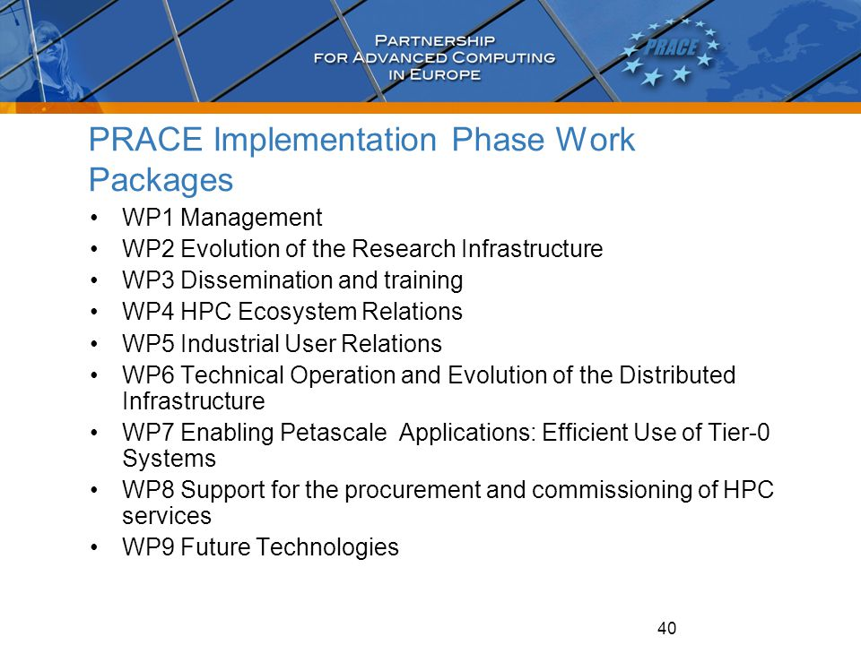 40 PRACE Implementation Phase Work Packages WP1 Management WP2 Evolution of the Research Infrastructure WP3 Dissemination and training WP4 HPC Ecosyst