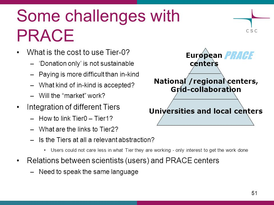Some challenges with PRACE What is the cost to use Tier-0? –'Donation only' is not sustainable –Paying is more difficult than in-kind –What kind of in