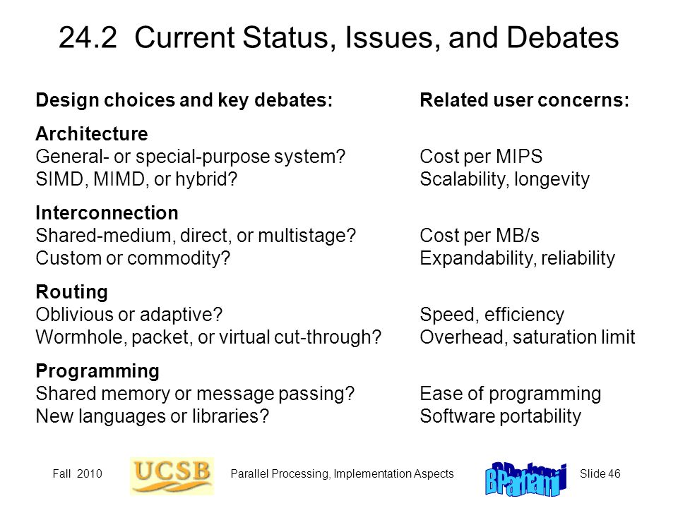 Fall 2010Parallel Processing, Implementation AspectsSlide 46 24.2 Current Status, Issues, and Debates Design choices and key debates: Architecture General- or special-purpose system.