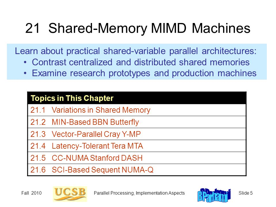 Fall 2010Parallel Processing, Implementation AspectsSlide 5 21 Shared-Memory MIMD Machines Learn about practical shared-variable parallel architectures: Contrast centralized and distributed shared memories Examine research prototypes and production machines Topics in This Chapter 21.1 Variations in Shared Memory 21.2 MIN-Based BBN Butterfly 21.3 Vector-Parallel Cray Y-MP 21.4 Latency-Tolerant Tera MTA 21.5 CC-NUMA Stanford DASH 21.6 SCI-Based Sequent NUMA-Q