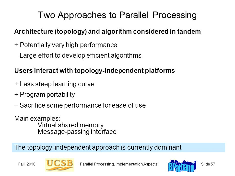 Fall 2010Parallel Processing, Implementation AspectsSlide 57 Two Approaches to Parallel Processing The topology-independent approach is currently dominant Architecture (topology) and algorithm considered in tandem + Potentially very high performance – Large effort to develop efficient algorithms Users interact with topology-independent platforms + Less steep learning curve + Program portability – Sacrifice some performance for ease of use Main examples: Virtual shared memory Message-passing interface