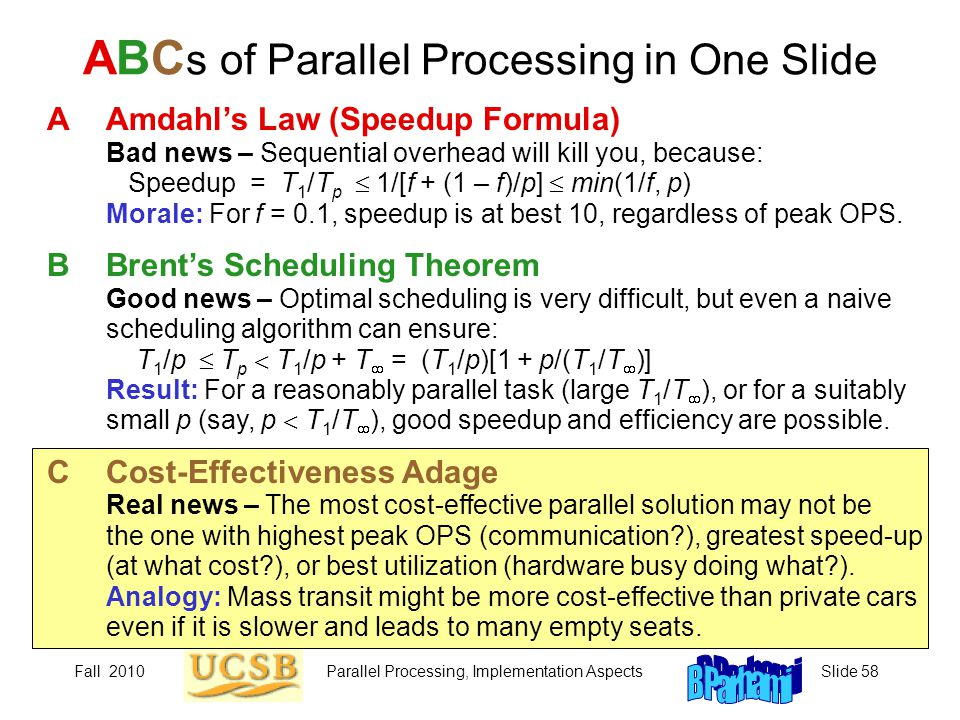 Fall 2010Parallel Processing, Implementation AspectsSlide 58 ABC s of Parallel Processing in One Slide AAmdahl's Law (Speedup Formula) Bad news – Sequential overhead will kill you, because: Speedup = T 1 /T p  1/[f + (1 – f)/p]  min(1/f, p) Morale: For f = 0.1, speedup is at best 10, regardless of peak OPS.