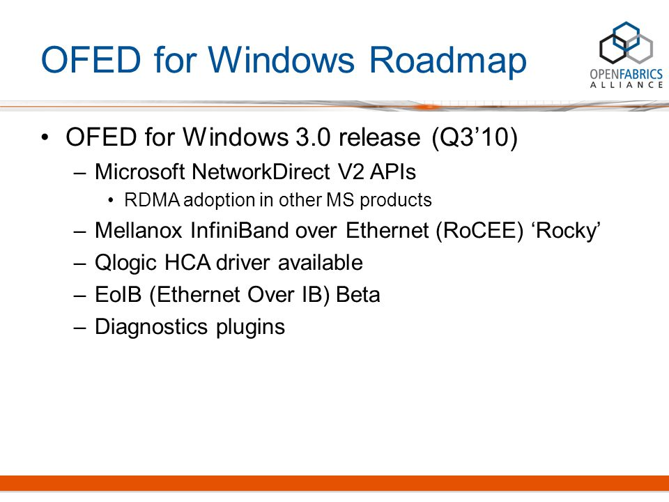 OFED for Windows Roadmap OFED for Windows 3.0 release (Q3'10) –Microsoft NetworkDirect V2 APIs RDMA adoption in other MS products –Mellanox InfiniBand over Ethernet (RoCEE) 'Rocky' –Qlogic HCA driver available –EoIB (Ethernet Over IB) Beta –Diagnostics plugins