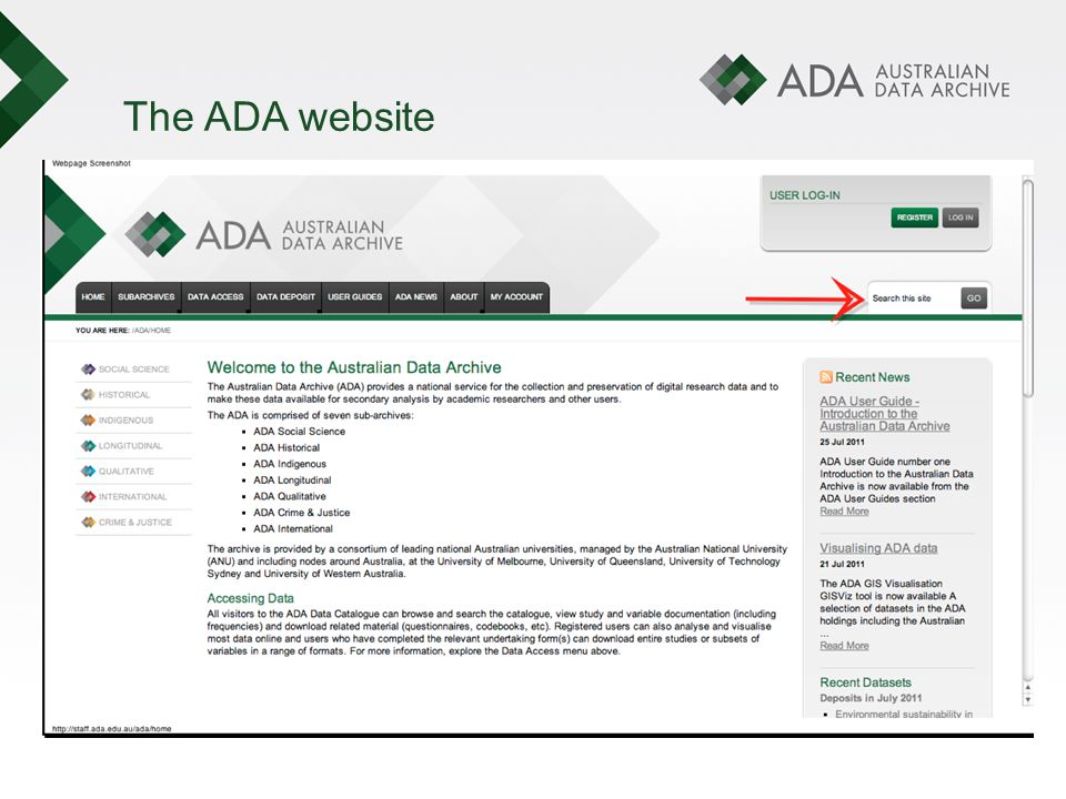 The ADA website