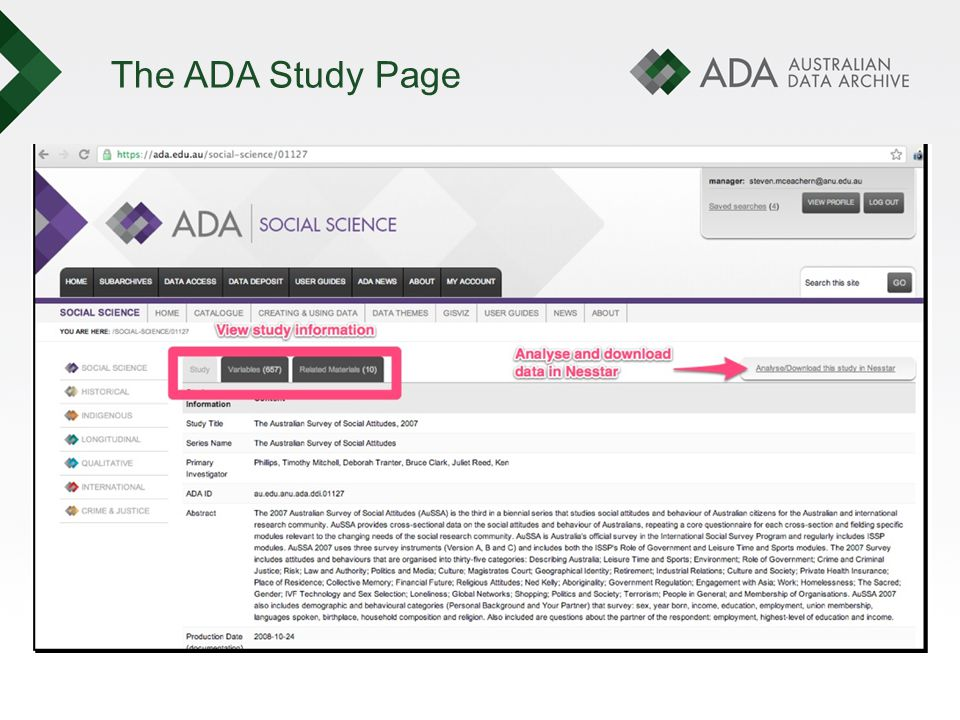The ADA Study Page