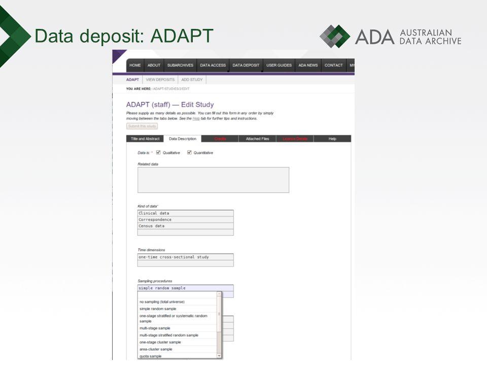Data deposit: ADAPT