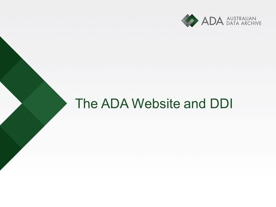 The ADA Website and DDI