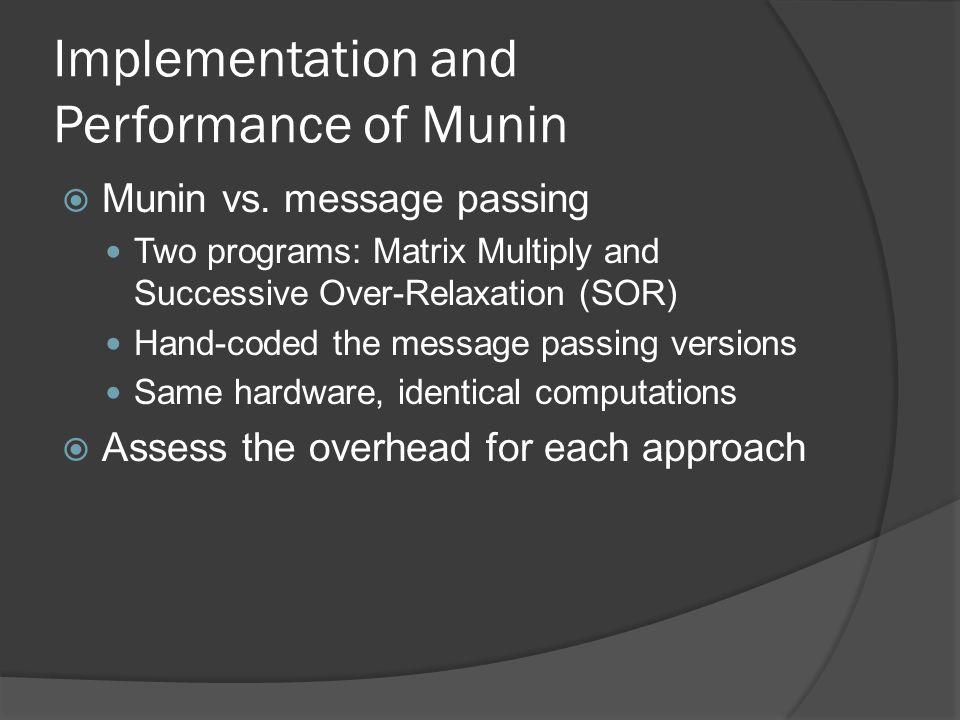 Implementation and Performance of Munin  Munin vs.