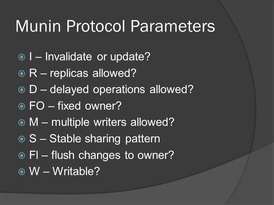 Munin Protocol Parameters  I – Invalidate or update.