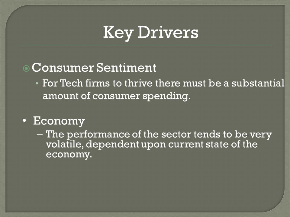  Consumer Sentiment For Tech firms to thrive there must be a substantial amount of consumer spending.