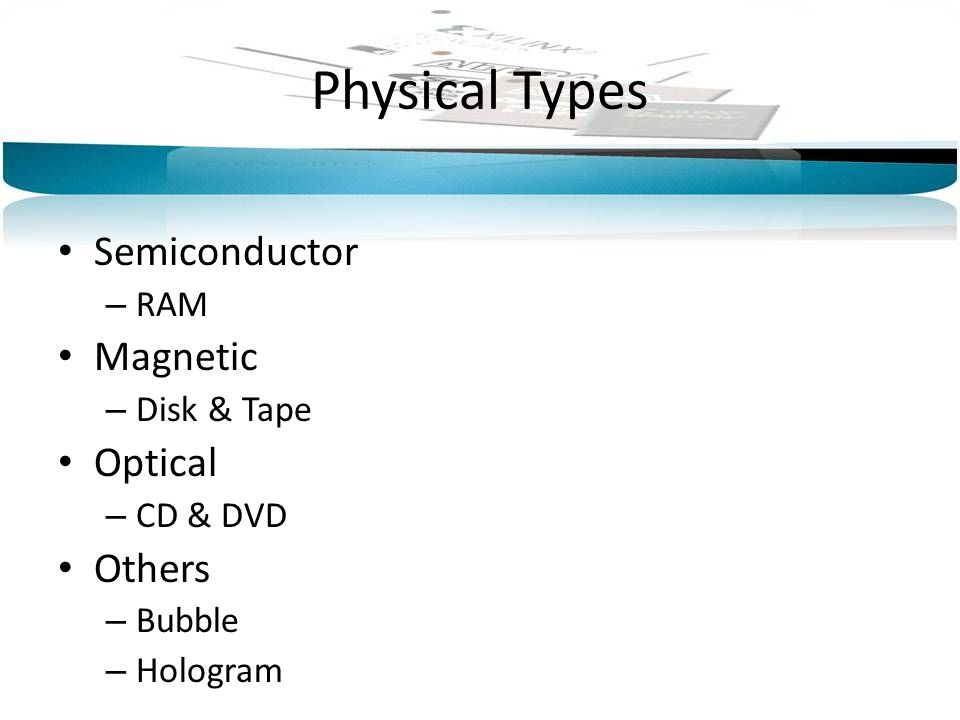 Physical Types Semiconductor – RAM Magnetic – Disk & Tape Optical – CD & DVD Others – Bubble – Hologram