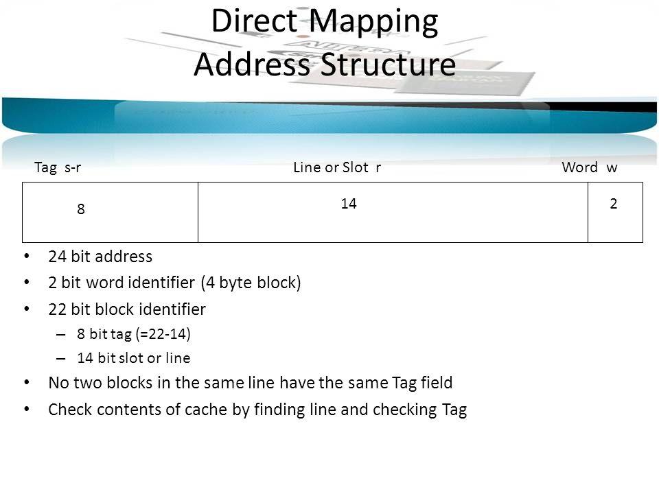 Direct Mapping Address Structure Tag s-rLine or Slot rWord w 8 142 24 bit address 2 bit word identifier (4 byte block) 22 bit block identifier – 8 bit