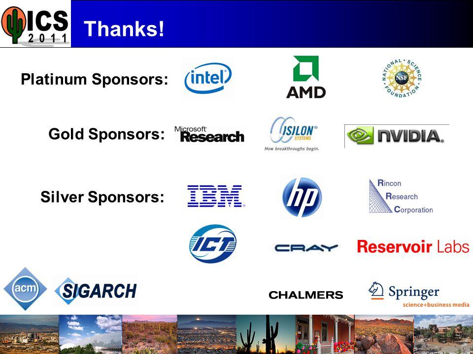 ICS '11 Thanks! Platinum Sponsors: Gold Sponsors: Silver Sponsors: