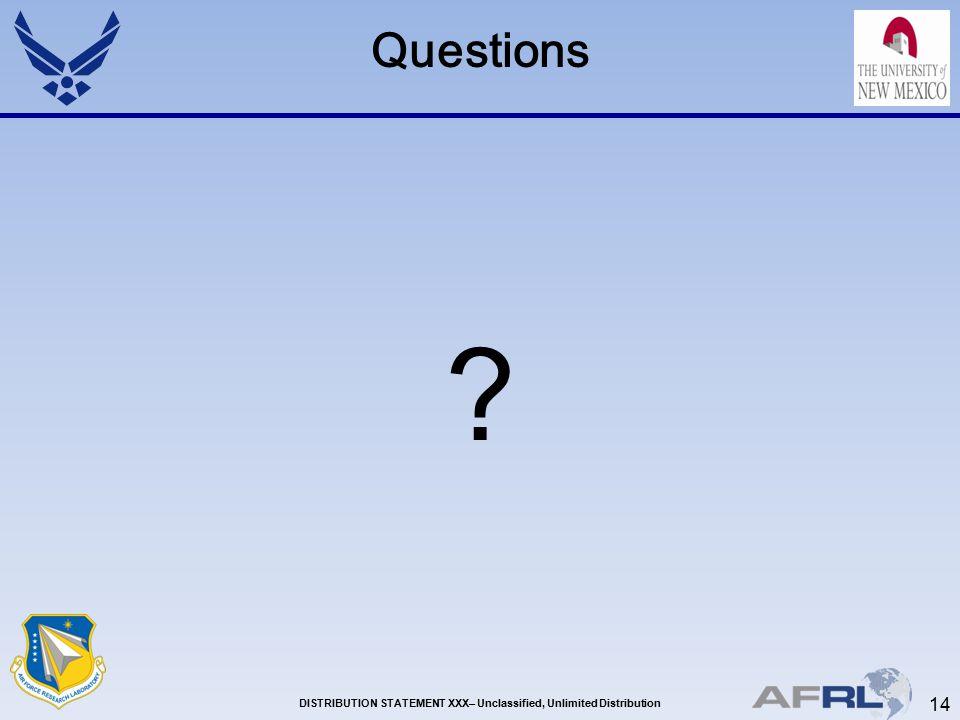 14 DISTRIBUTION STATEMENT XXX– Unclassified, Unlimited Distribution Questions ?