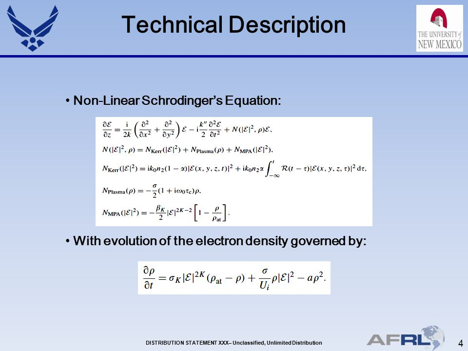 4 DISTRIBUTION STATEMENT XXX– Unclassified, Unlimited Distribution Technical Description Non-Linear Schrodinger's Equation: With evolution of the electron density governed by: