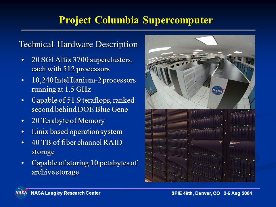 NASA Langley Research Center SPIE 49th, Denver, CO 2-6 Aug 2004 20 SGI Altix 3700 superclusters, each with 512 processors20 SGI Altix 3700 superclusters, each with 512 processors 10,240 Intel Itanium-2 processors running at 1.5 GHz10,240 Intel Itanium-2 processors running at 1.5 GHz Capable of 51.9 teraflops, ranked second behind DOE Blue GeneCapable of 51.9 teraflops, ranked second behind DOE Blue Gene 20 Terabyte of Memory20 Terabyte of Memory Linix based operation systemLinix based operation system 40 TB of fiber channel RAID storage40 TB of fiber channel RAID storage Capable of storing 10 petabytes of archive storageCapable of storing 10 petabytes of archive storage Project Columbia Supercomputer Technical Hardware Description