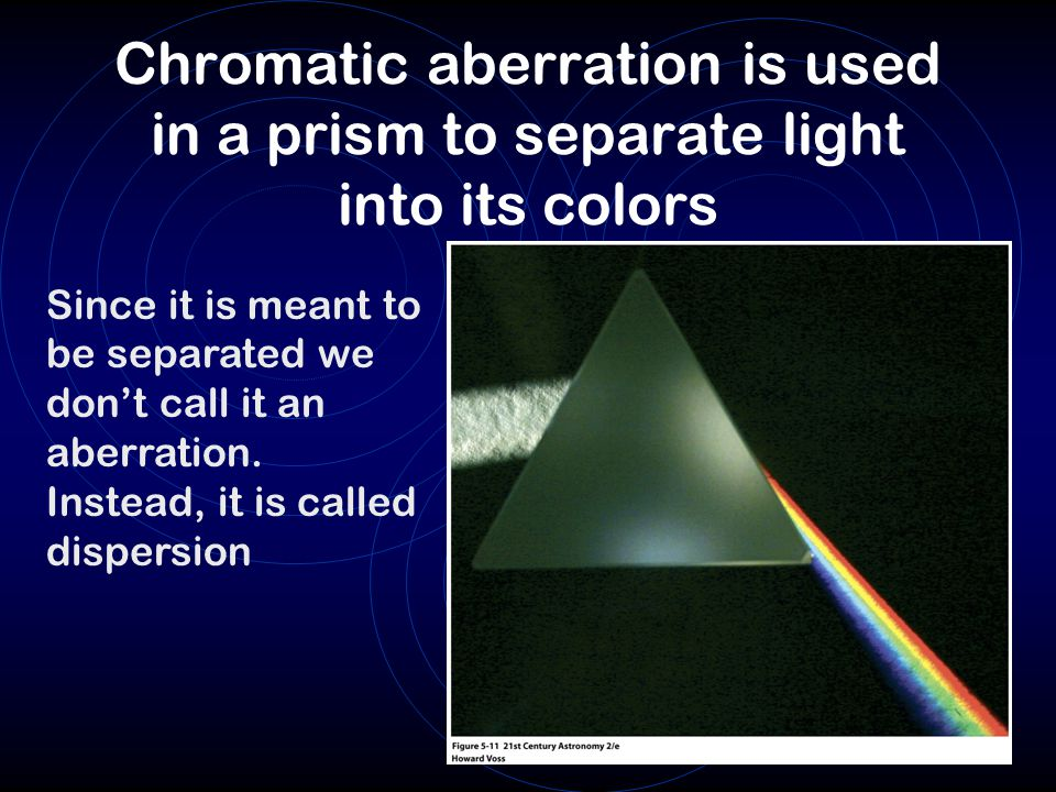 Chromatic aberration is used in a prism to separate light into its colors Since it is meant to be separated we don't call it an aberration.