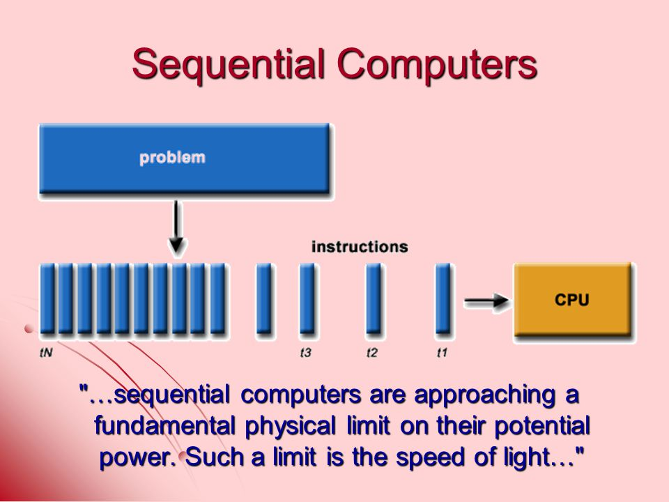 Sequential Computers …sequential computers are approaching a fundamental physical limit on their potential power.