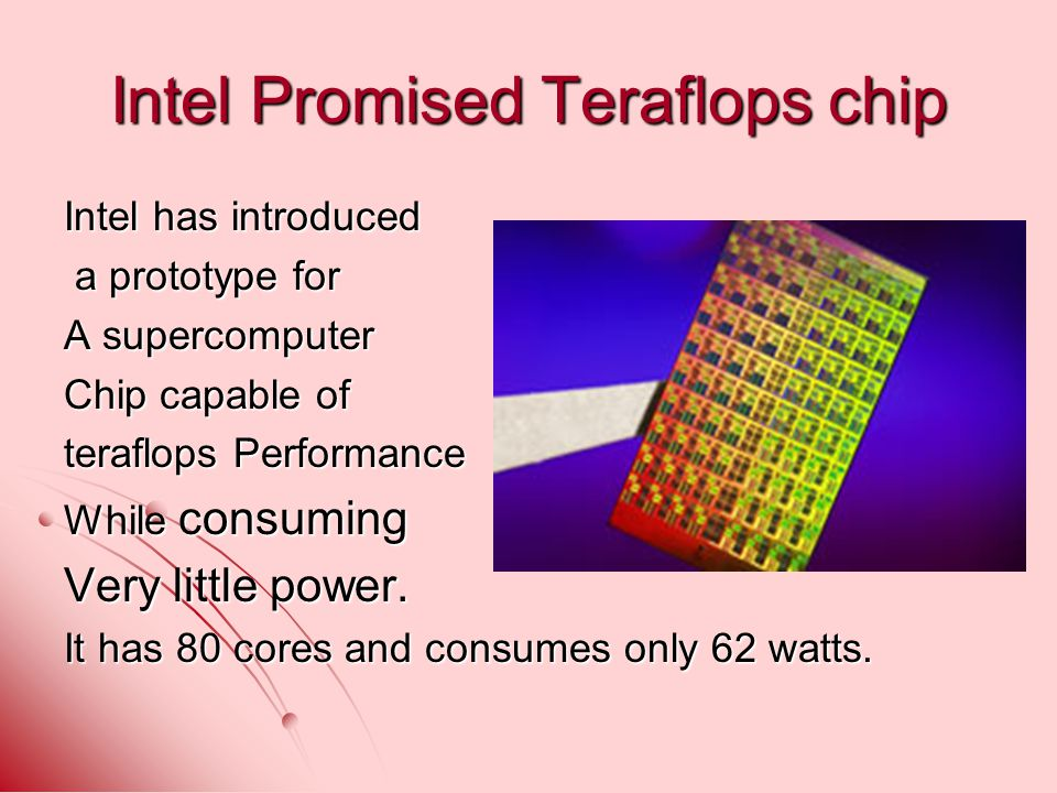 Intel Promised Teraflops chip Intel has introduced a prototype for a prototype for A supercomputer Chip capable of teraflops Performance While consuming Very little power.