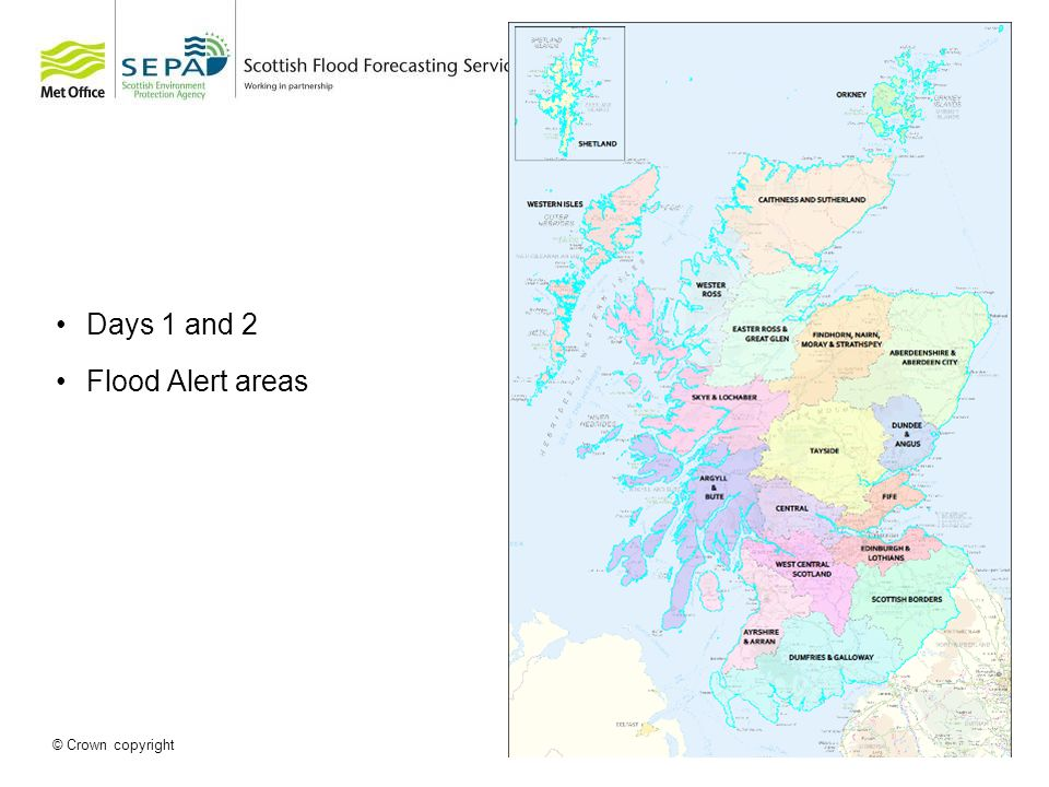 © Crown copyright Days 1 and 2 Flood Alert areas